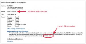 Written directions from the Social Security website listing the address, phone number and business hours of a local field office. A large red arrow points to the national 800 number and the local office phone number