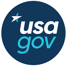 A blue circle with a star and the words USA.gov, the logo of the website that organizes information across the entire Federal government