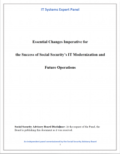 Title page of IT Panel report